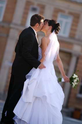 Bride & Groom Kissing on their Wedding Day